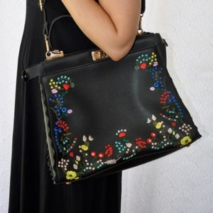 Black vegan faux leather embroidered purse